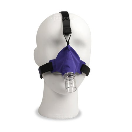 Front View of the SleepWeaver Advance Pediatric Nasal CPAP Mask with Headgear (Mannequin Not Included)