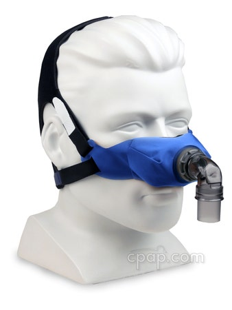 SleepWeaver Elan Soft Cloth Nasal Mask Angled Front (Shown on mannequin - not included)