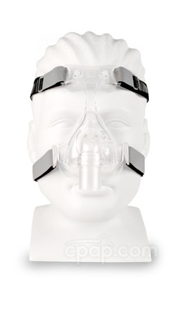 D100 Nasal CPAP Mask with Headgear - Front View (Mannequin not Included)