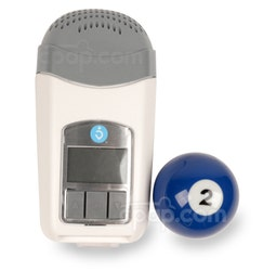 Z1 Travel CPAP Machine - Front View with Updated Buttons (Billiards Ball not Included - for Size Reference Only)