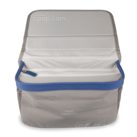 Respironics Bedside Organizer for CPAP Masks and Tubing - Front View with the Lid Extended Backward