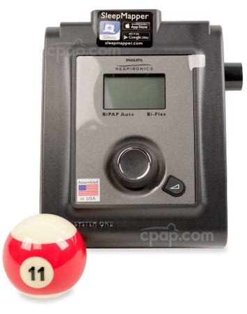 Front View of the PR 60 Series BiPAP Auto with Bluetooth (Billiard Ball Not Included)