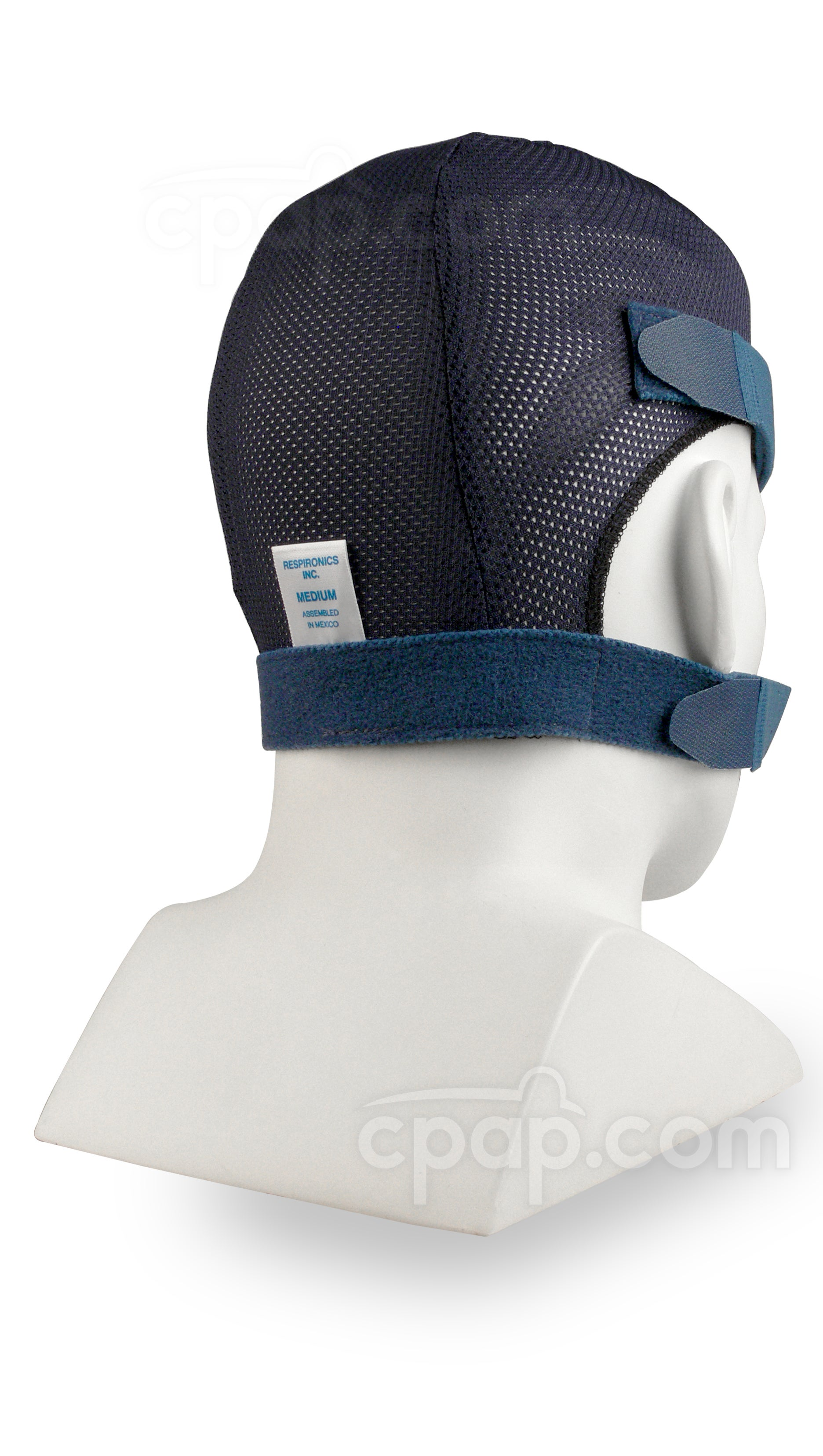 Blue Mesh SoftCap Headgear - Angled View (Mannequin Not Included)