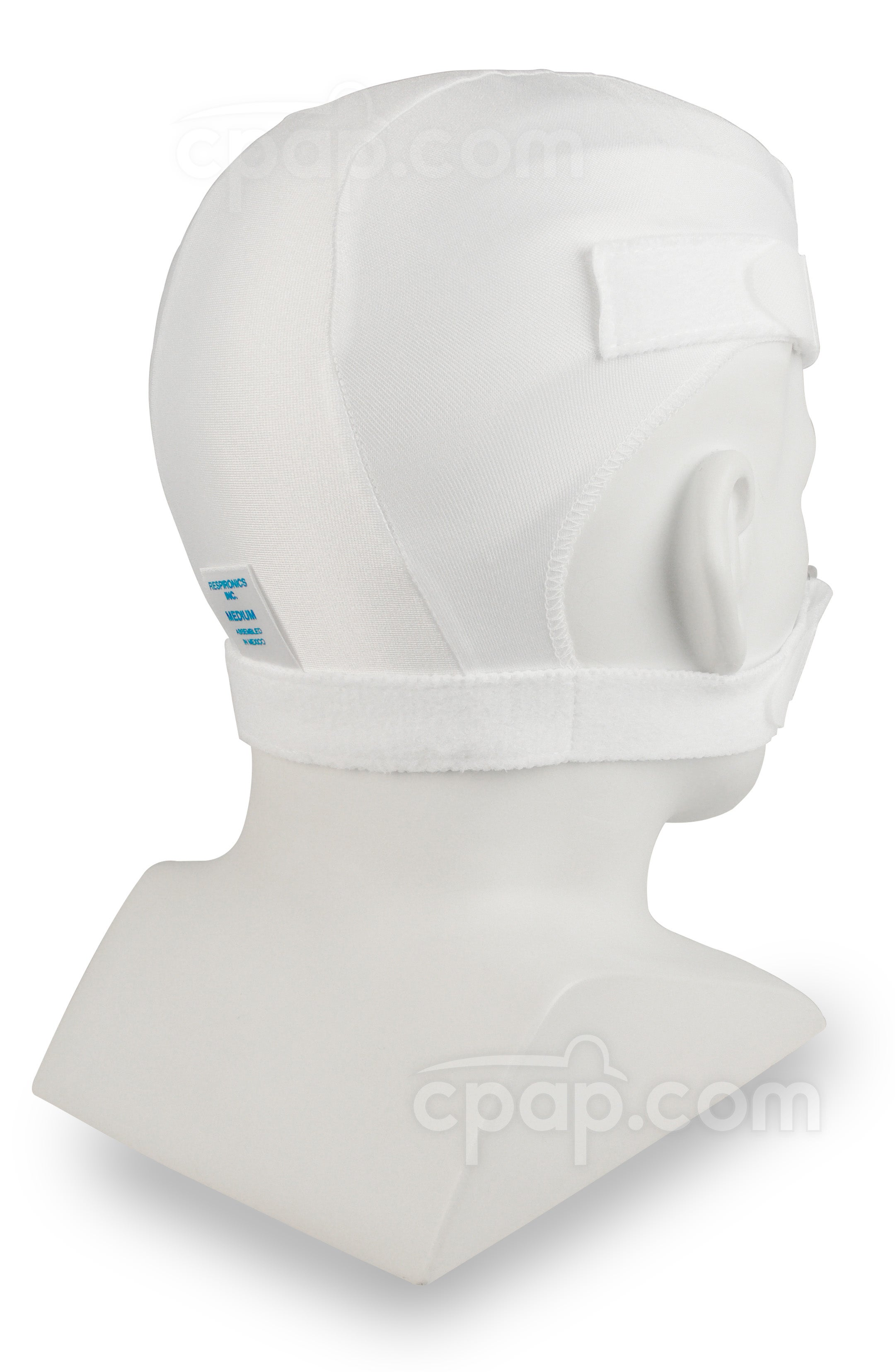 Softcap Headgear White - Angled View (Mannequin Not Included)