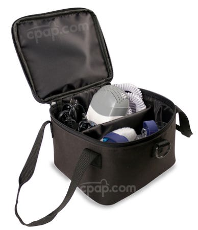 Profile View of the Travel Bag Holding a Small CPAP Machine and CPAP Accessories (CPAP Machine and Accessories Not Included)